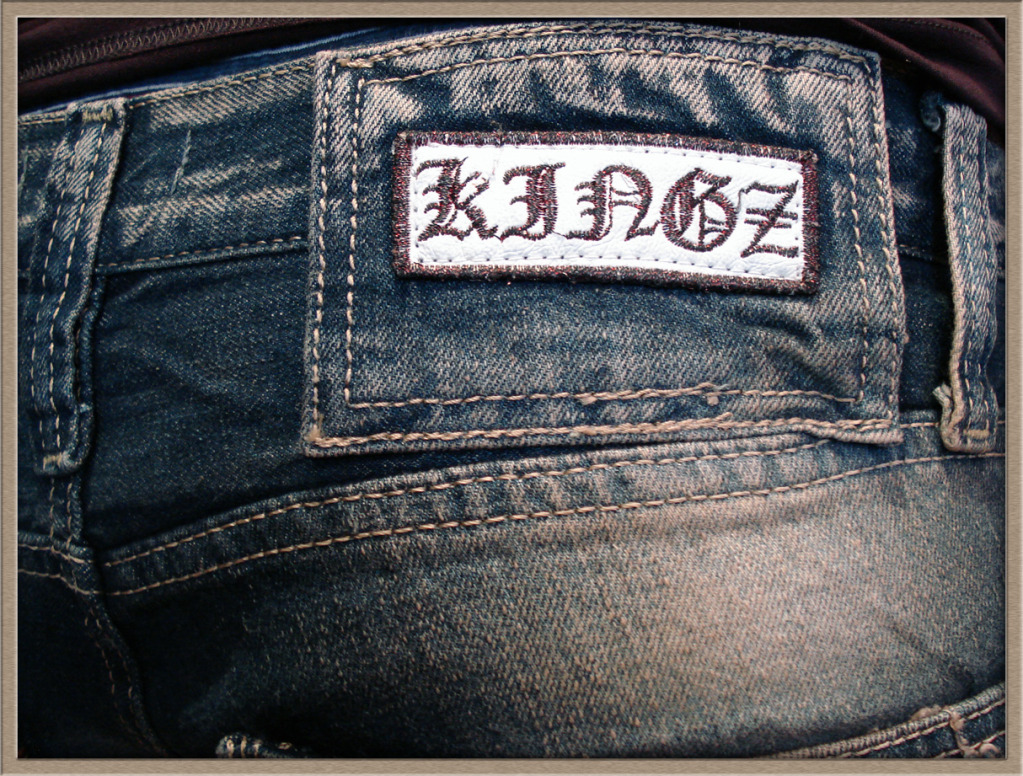 top original kingz designer jeans hose mit lederapplikationen patches 29 36 ebay. Black Bedroom Furniture Sets. Home Design Ideas